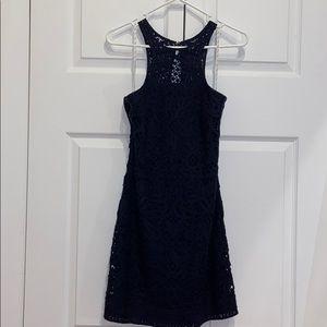 Lilly Pulitzer knit crochet navy shirt dress sz S